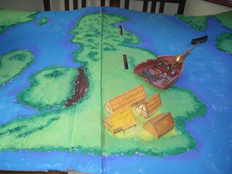 Our papier mache map showing an Anglo Saxon village, the burial at Sutton Hoo and Offas Dyke