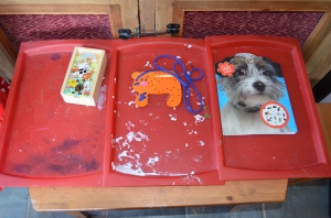 Animal dominoes (played every day!), doggy threader, doggy colouring in book