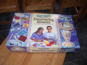 Our charity shop buy of a mosaic making kit.  Perfect for our studies