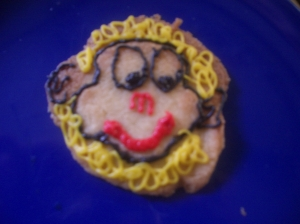 One of the biscuits decorated by the older ones. The little girls did more eating than decorating!