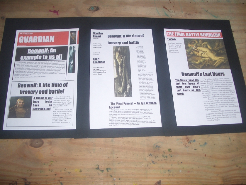 Our Geatish Guardian- a newspaper all about Boewulf!