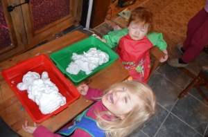 All ready to play with their 'snowmen'