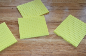 I cut a sponge dish cloth into four, folded each into four and cut as I would to make a paper snowflake