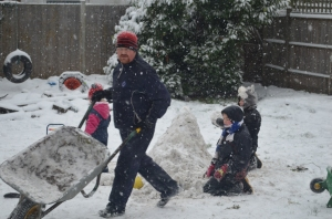 Then a break to collect snow for snowman building