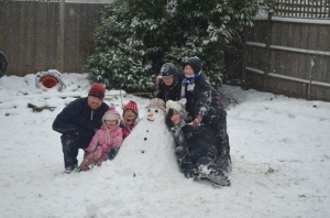 B1 joins in after her nap and here is our lovely snowman