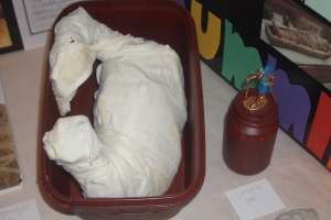 The final mummified chicken in it's coffin.  Note the canopic jar next to it