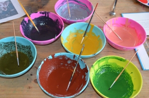 All our lovely homemade paint, once the egg yolk had been added.
