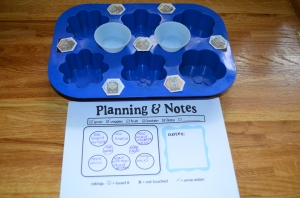 Muffin tin prepared , with planning form