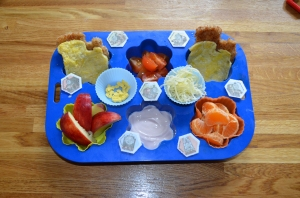 Thomas the Tank themed muffin tin meal