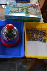 Thomas Tank book making kit (a work in progress); Thomas Tank spinner; Thomas stickers
