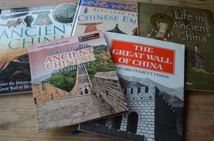 Books we used for our last visit to Ancient China.  These will all be required rereads