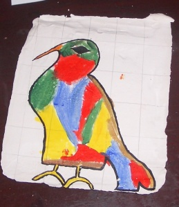 C's painting, using up all the space, with a grid in the back ground and using all the bright colours costomary at that time