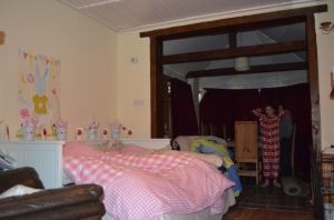 Sofa bed down, duvets brought down and Goodnight Moon Bunny baskets lined up along the bed