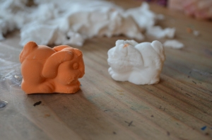 Close up of the rabbit.  Apart from the fact the dough gets every where, this is a great toy for all ages!