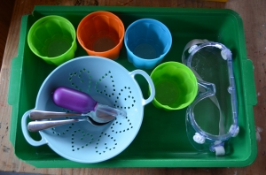 Each little 'un had a small tray with mixing bowls, sieve, spoons, syringe and goggles