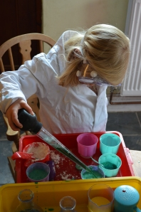 She gives her full concentration to every mixture