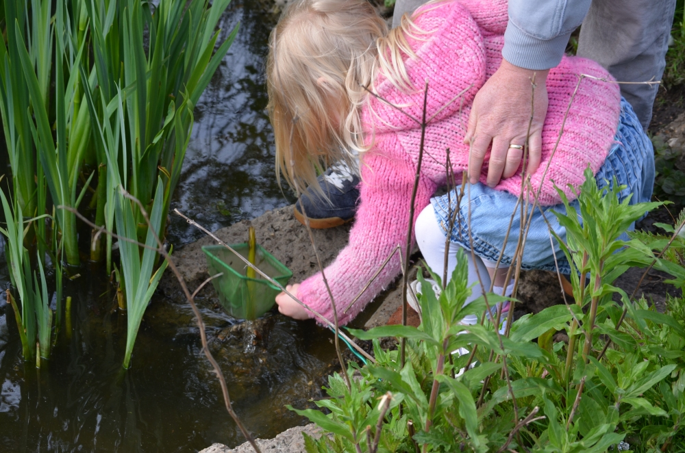 Daddy helping her on the banks of the pond