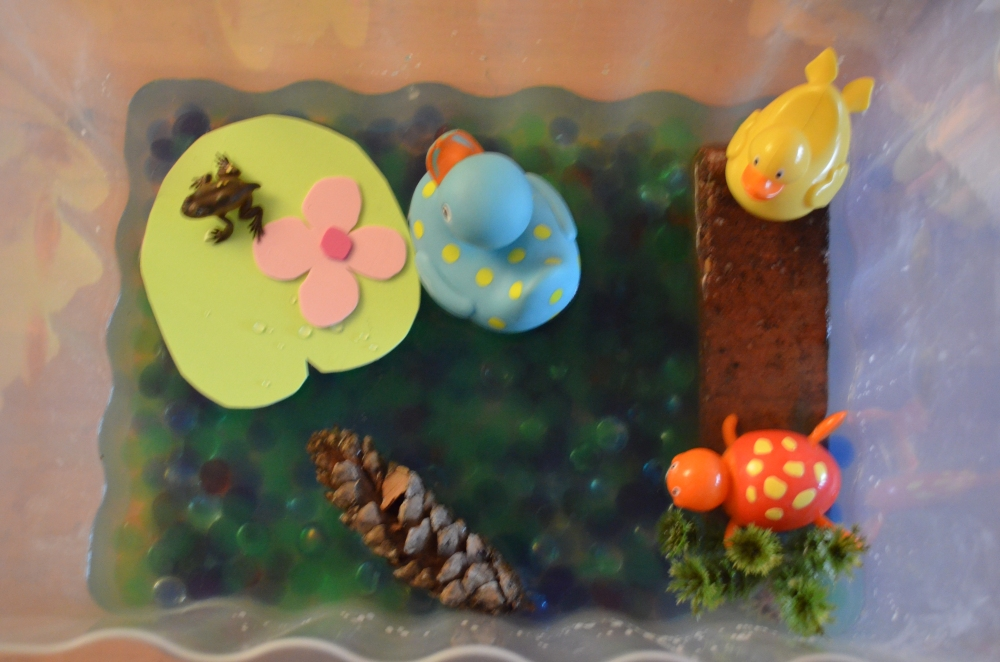 Looking down on the box:  I put glass beads of all colours; some green and blue water beads; tadpoles in various stages of growth; pond weed, wood and cone; plastic animals and I cut a lily pad and lily from foam