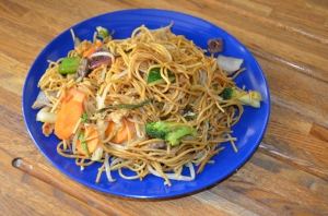 Chicken and vegetable noodles.  Yummy!