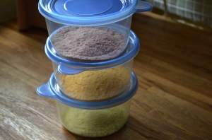 Three colours for our edible sand art