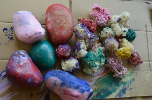 Large pebbles painted and a few egg casts (A4's idea)