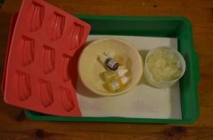 Cut up soap bits to melt in hot water, a basket of dyes and scents and shell and star shaped molds