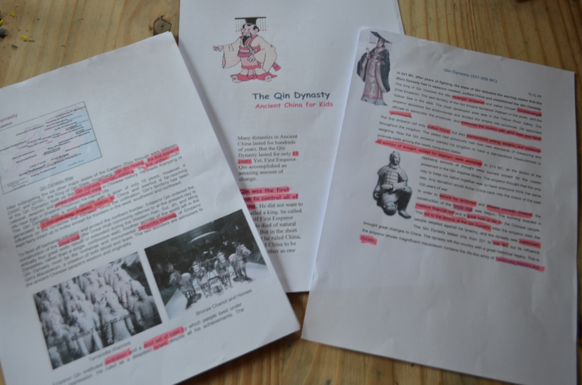 Three sources, read, discussed and highlighted, ready for key wording!