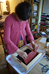 L10 printing out onto her silk