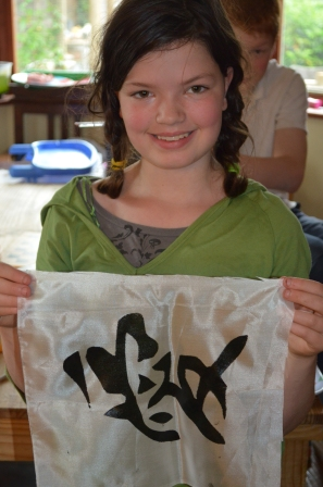 C10 proudly showing of her silk print