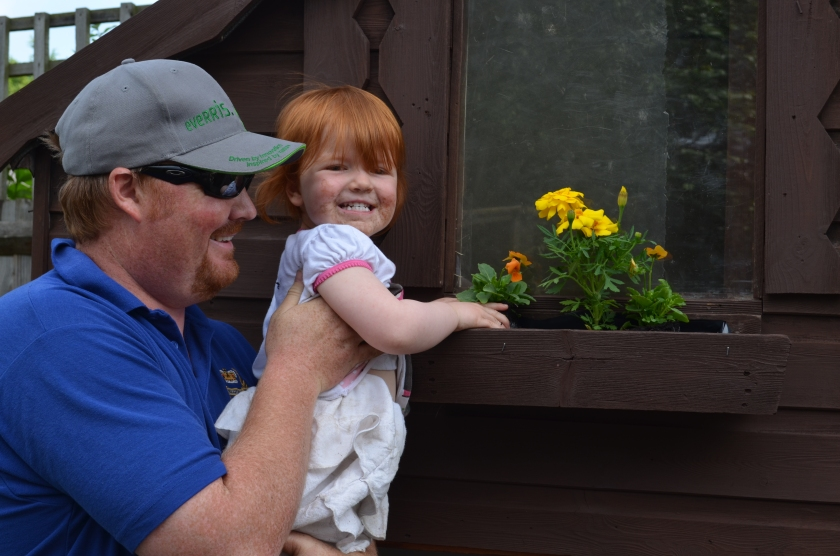 B2 helping daddy to plant the flowers in the window box