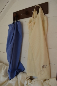 And his hooks, being used for what they were made for: hanging up the night gowns!