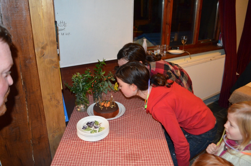 And blowing out the candles in unison to a very tuneless rendition of happy birthday!