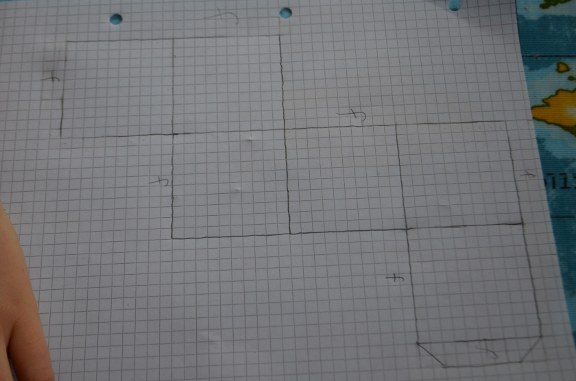 First they chose one of the nets from the day before, decided on the size and drew it using squared paper and a ruler