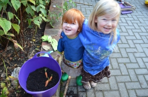 Look mummy, we planted some carrots!
