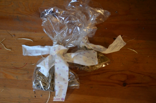 And finally we tied the material around each bag, ready to give to the twins with their perfume in a couple of weeks