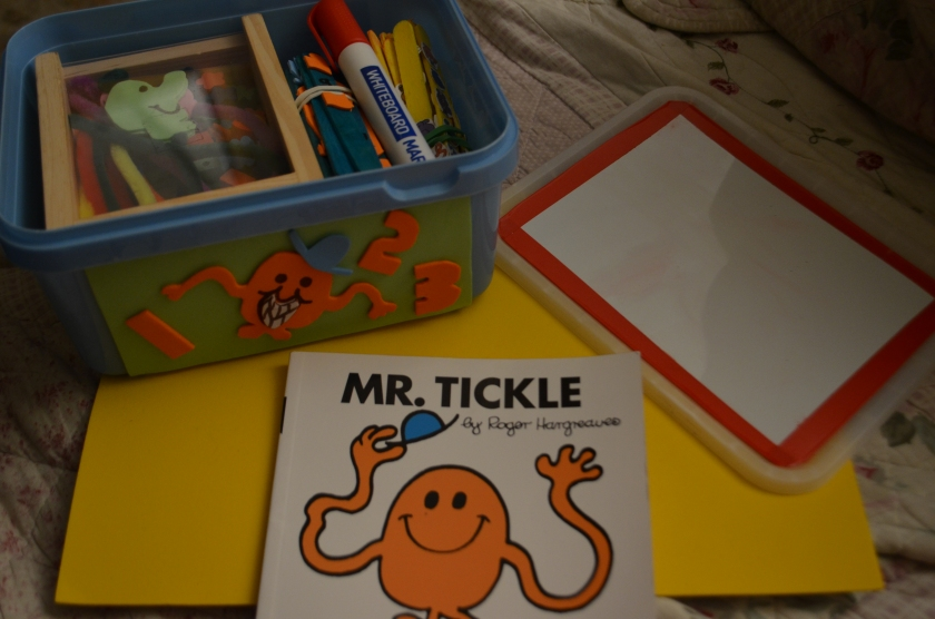 All the goodies in the box, ready for our study of Mr Tickle next week.