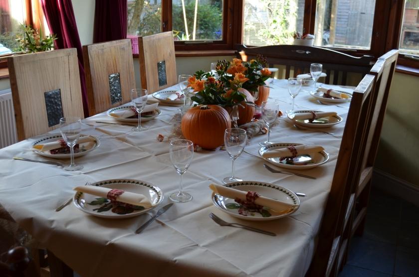 Autumnally set table