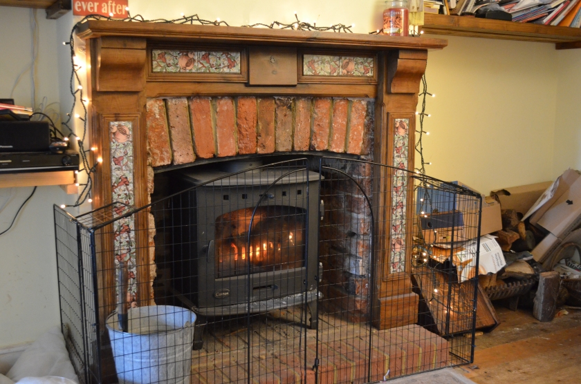 Gary lit  the wood burner, all set for our return from an autumnal nature walk