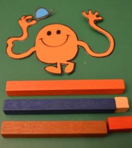 Using the different Montessori rods, encouraging number bond understanding also