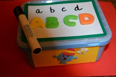 Here I wrote the small letters and A5 found the corresponding magnetic letters