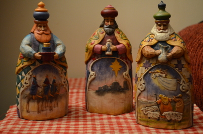 And the three wise men, with scenes from their journey