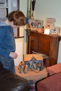 He even worked on lighting, to ensure that the spotlight lit just the right area of the nativity