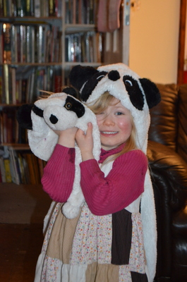 A5 even went and found her winter hat, also a panda!