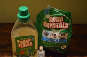Dri Pac brand of Liquid soap flakes and soda crystals, with Tea Tree oil