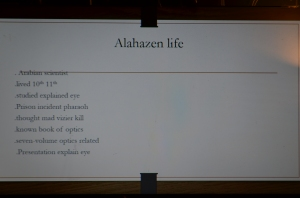 The start of his presentation gave a brief biography of Alhazan