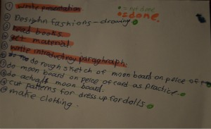 C11's list of things to get done.  Apparently she is making a moon board rather than a mood board!!