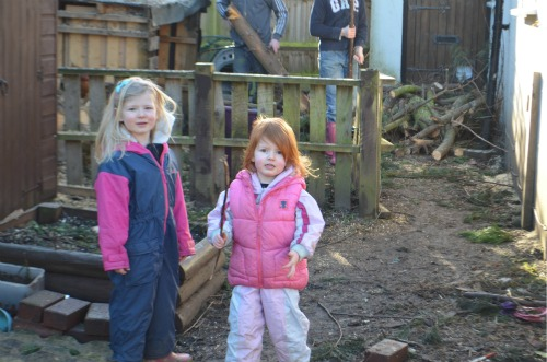 The little girls raring to go