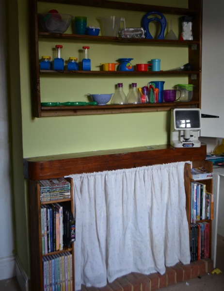 We still need to add the science table, which will be a piece of wood screwed onto the mantle piece.  We won't do that until the end, when we do all the work surfaces together.