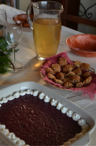 Ginger ale (in lieu of beer), cherry pottage and pine nut candy