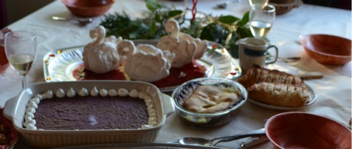 Cherry pottage, swan subtleties, apple strudel and apple pie